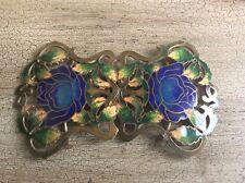 ART NOUVEAU IN OTTONE Cloisonné Smalto Fiore Fibbia della Cintura