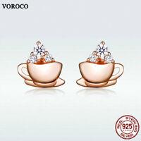Voroco 925 Sterling Silver Stud Earrings Coffee Charm Zircon For Women Jewelry