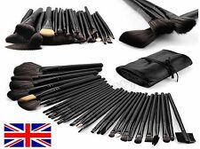 Prof 32 Pcs Make Up Brush Set and Cosmetic Brushes Faux Leather Case Black/Pink