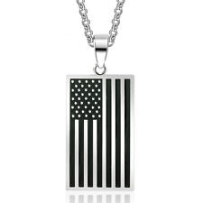 American Flag Pendant Necklace Stainless Steel United States America USA