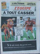 L'Equipe du 9-10/5/1998 - La folie Perpignan - Foot : Lens ou Metz - Schumacher
