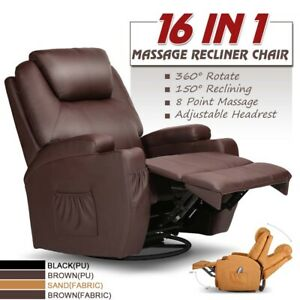 Electric Recliner Massage Chair Sofa PU Leather Arm Lounge Heated Vibration W/RC