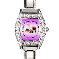 Pekingese Dog CZ Lady Stainless Steel Italian Charms Bracelet Wrist Watch BJ1149