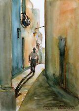 """Doranne Alden ORIGINALE """"sera passeggiata nella Mdina"""" Malta dipinto ad acquerello"""