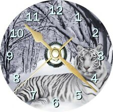 White Tiger In Snow Cd Clock Can be personalised