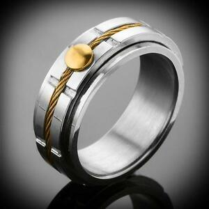 New Struttura Men's Gold Overlay Riveted Cable St Steel Spinner Ring Size-8
