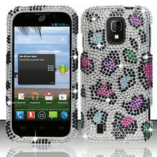 Cricket ZTE Source N9511 Crystal Diamond BLING Phone Case Cover Rainbow Leopard