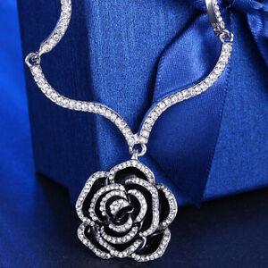 Lia  Sophia Necklace Enamel Black Flower Crystal Rhinestone Gunmetal Pendant