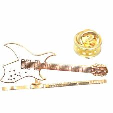 Vintage Miniature Music Guitar Pin  Rich Bich White  Music Jewelry Gold Plated