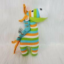 Yookidoo Giraffe Baby Lovey & Rattle Orange Green Stripes Cloth Plush Toy B87
