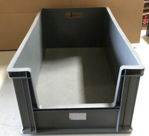 XL Eurobehälter Stapelkasten Regalbox vorn mit Einschnitt 600 x 400x 280mm Grau