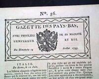Rare 18th Century BRUSSELS BELGIUM Netherlands in French Langauge 1793 Newspaper
