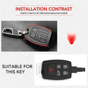 Car Black Leather Remote Key Fob Cover Case For Volvo XC90 C70 S60 D5 V50 S40 C3