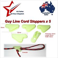 5 x Plastic Glow in The Dark Guy Rope Stoppers.  tent rope stopper paracord stop