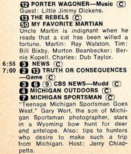 1971 Tv Listing~Michigan Sportsman~Gary Wert Wyoming Bow Hunt~Full Page