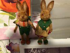 Vintage Rare Kunstlerschutz Flocked Mr & Mrs Rabbit Handwork West Germany