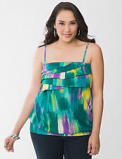Lane Bryant  Plus 16 18 1X BLUE Green Swirl Ruffle Tube Tank Top Shirt Cami NeW
