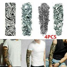 4PCS Removable Extra Large Flower Skull Temporary Tattoos Sticker Full Arm 3D UK