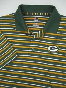 Mens Large Green Bay Packers Majestic Cool Base polo shirt
