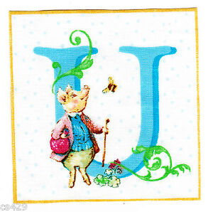 Beatrix potter letter u wall decal square wall safe fabric 3.5 inch