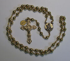 """† VINTAGE """"PIEATA"""" CREED YELLOW GOLD DOUBLE RING CAPPED ROSARY 26"""" 42 GRAMS †"""