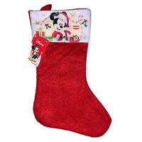 Disney Mickey Mouse Dressed As Santa Christmas Stocking NWT Red White Felt