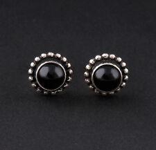 GEORG JENSEN Sterling Silver Earrings # 9 w. Black Agate. Design: GJ himself.