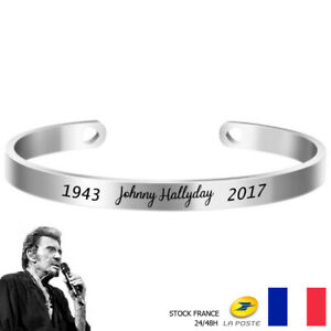Bracelet Johnny Hallyday Acier Inoxydable Prénom & Date - Gris