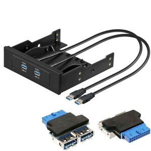 """PC Frontpanel 3,5"""" & 5,25"""" / 2 Port HUB USB 3.0 mit intern Adapter 19pin 2x USB"""