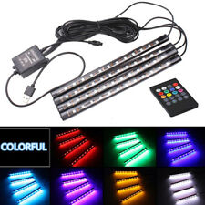 4X 12LED RGB Car Interior Voice Remote Control Floor Well USB Charge Light Strip