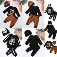 Halloween Newborn Baby Skull Romper Outfits Tops + Pants + Beanie Cap Clothes
