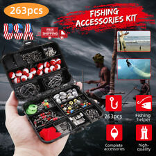 263Pcs Fishing Kit Set with Tackle Box Pliers Hooks Sinker Weights Swivels Snap