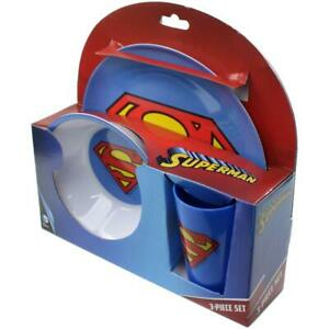 Warner Bros. Superman Logo 3PC Melamine Kids Dinnerware Set