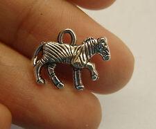 10 zebra horse charm pendant tibetan silver antique style 3D wholesale craft