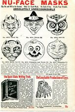 1926 small Print Ad of Spirit Slate Writing & Nu-Face Masks devil witch pumpkin