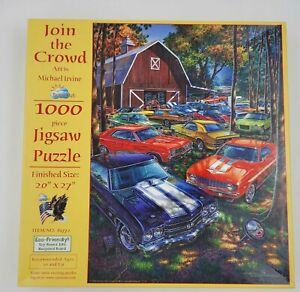 RARE Join the Crowd Jigsaw Puzzle 1000 pieces Michael Irvine SunsOut Cars CIB