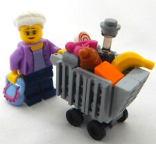 NEW LEGO GRANDMA with SHOPPING CART MINIFIG LOT minifigure grocery market food