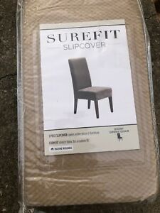 Sure Fit Dining Short Chair Slip Cover Cream Tan NEW Armless Seating