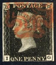 More details for gb 1840 penny black 'i-g'' good used almost 4 margins sg 2 cat £375