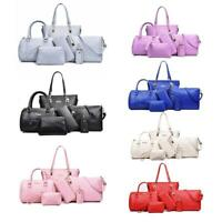 6pcs/set Women Ladies Leather Handbag Shoulder Tote Purse Satchel Messenger Bag