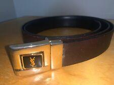 "YSL Yves Saint-Laurent Double Side Leather Belt/Buckle Gold Tone, 41"" Long"