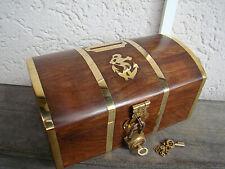 superbe Tirelire coffre du capitaine en bois et laiton neuve  longueur 14cm
