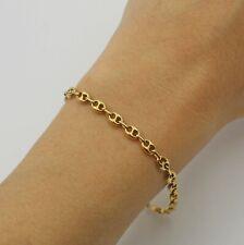 Vintage Italian 18K Yellow Gold Puffed Mariner Anchor Link Bracelet