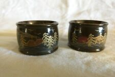 Set of 2 Napkin Rings Dark Brown Golden Highlights Japanese Lacquer Handpainted
