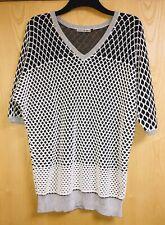 ISSEY MIYAKE White & Metallic Waffle Knit Crochet Jumper/Sweater *Size 2 IM47
