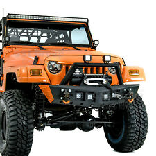 Stubby Front Bumper+Winch Plate+4x LED Light+D-rings for 97-06 Jeep Wrangler TJ
