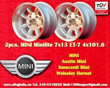 2 Cerchi Mini Minilite 7x13 ET-7 PCD 4x101.6 Wheels Felgen Llantas Jantes TUV