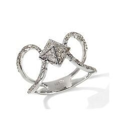 Rarities Carol Brodie 0.5 Ct White Diamond Sterling Pyramid Ring Size 6 HSN $259