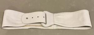 "Witchery Ivory Cream Soft Leather Wide Leather Waist Band Belt Size Sm 30"" EUC"