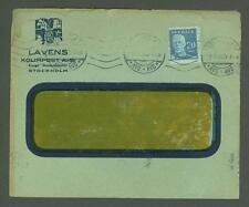 J Cover W74 Sweden 1920 Lavens Coal Import Company Stockholm Machine Cancel